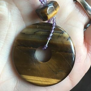Vintage tigers eye donut necklace